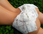 Bridal Mrs. Booty Bow Panty Stretch Lace Something Blue Wedding LIngerie in Custom and PLus Sizes