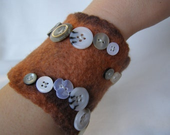 Wet Felted Cuff Bracelet in Burnt Copper with Button Swirls