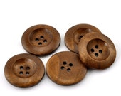 "50 Brown Wooden Buttons - 25mm (1 inch) - 4 Holes -  Round Sewing Wood Buttons 25mm (1"")  (21317)"