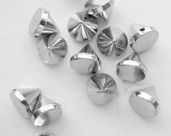 50 Silver Rivet Studs - Sew on - Glue on - 6mm - Acrylic - Spikes, Rivets, Studs