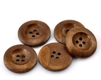 "10 Brown Wooden Buttons - 25mm (1 inch) - 4 Holes -  Round Sewing Wood Buttons 25mm (1"")  (21317)"