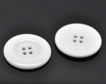 Large White Resin Acrylic Buttons - 38mm (1.5 inch)  - 4 Hole - Acrylic Button White  (19902)