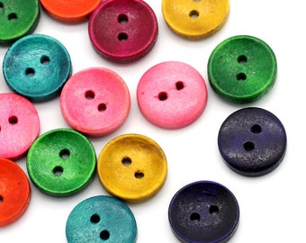 50 Mixed Color Wooden Buttons - 15mm (5/8 inch) -  Earth Tones - 2 Hole - Mixed Wood Button (23788)