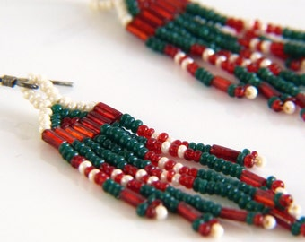Sterling Silver Beaded Dangle Earrings in Red, Green and White