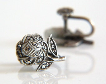 Sterling Silver Marcasite Screw Back Earrings - Rose Earrings - Vintage Earrings