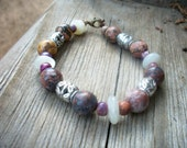 Shades of Brown and Rose Beaded Bracelet