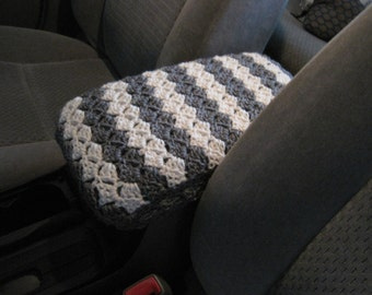 Crochet Car Center Console Cover - grey heather/aran (CCCC1A)