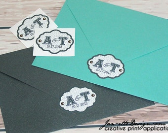 Vinyl Labels, Personalized Vinyl Monogram Stickers, Custom Wedding labels for stationery and favors