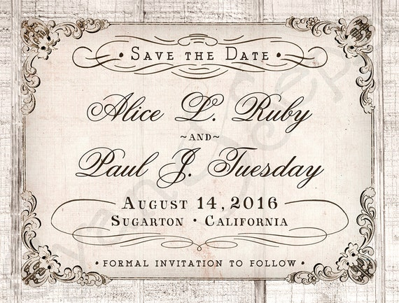 Antique Calligraphy On Wood Wedding Save The Date By
