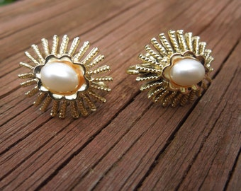 Vintage CORO Earrings, Screw Back, Gold Tone with Faux Pearl, Signed