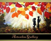 Original Abstract Painting -Pure Love - Autumn Leafs - Kids Children Boy Girl - Gift Surprise Acrylic Contemporary Art - Made To Order