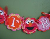 Elmo girl red pink and orange birthday banner