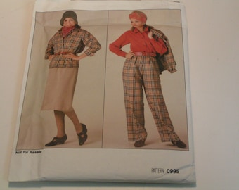 Vintage Vogue Pattern 0995 Miss Jacket Skirt Pants Blouse