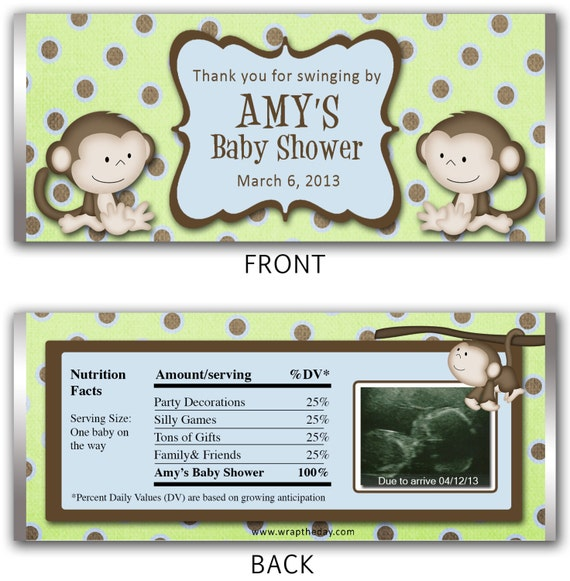 Monkey Baby Shower Personalized Candy Bar Wrapper