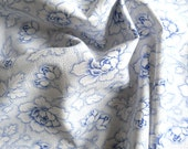floral fabric vintage fabric  antique blue flowers french fabric  patchwork quilting 111