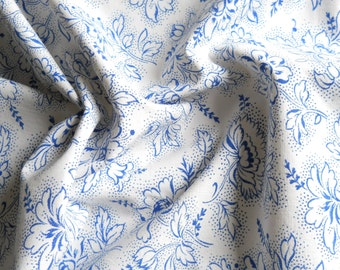 vintage floral fabric french vintage fabric  blue floral fabric blue french fabric 115