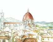 Florence, Italy Original Watercolor Print