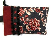 Red and Black Floral Wristlet with Ruffle and Ribbon