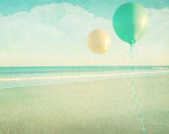 Floating - Tranquil Teal Beach Ocean Wall Decor - Nursery Decor - Jersey Shore - sand ocean balloons 5x7 print