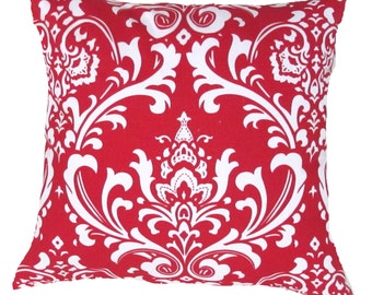 "Red Pillow Cover- Red Damask & White Damask Pillow Cover-Accent Pillow Cover ..16"",17"",18"",20"" 24"" 26"", Lumbar Pillow or Euro Sham"