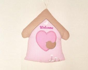 Baby Door Hanger,  Welcome Room Decor, House Pillow for Girls - Room decor and soft toy for children - baby shower gift - HET