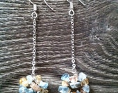 Aigue marine and citrine chips silver sterling earrings,  gemstones, chain