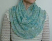 Blue and green - sea glass colors -  mohair infinity scarf