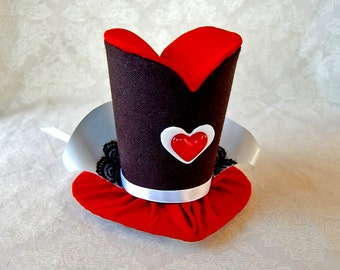 Tiny Top Hat: Queen of Hearts - Lolita Cosplay Costume Party Fascinator fast shipping Prop Wedding Small Mini top hat Miniature little