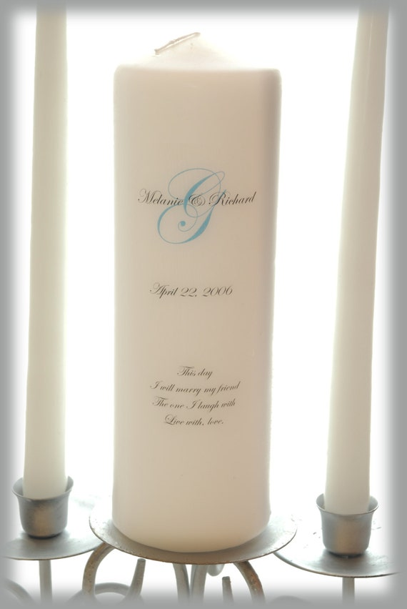 Personalized Unity Candle With Monogram Wedding Candles
