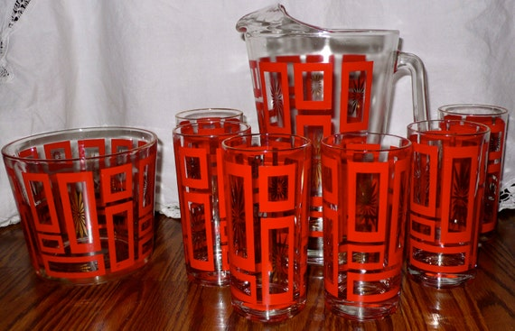 Vintage Glass Pitcher With Geometric Red And Gold By Chriscre