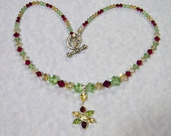 Floral Gemstone Pendant and Crystal Necklace