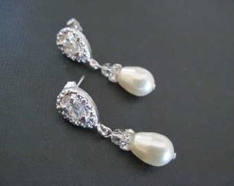 Swarovski Crystal Pearl Drop Earrings/ Bridal Jewelry/ Bridesmaid Jewelry/ Pearl Earrings/ Custom Earrings