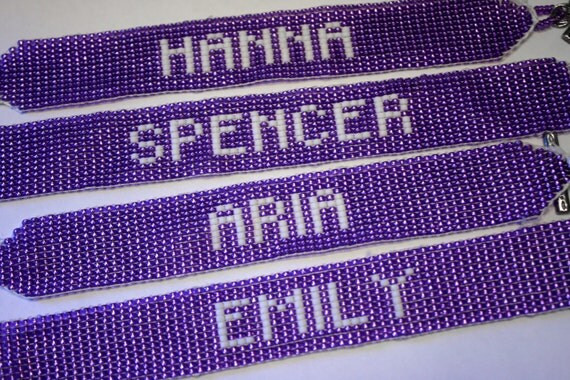 CUSTOM Beaded Friendship Bracelet - Pretty Little Liars PURPLE