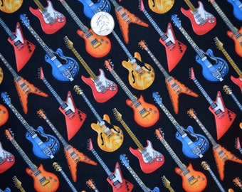 Elizabeth's Sutdio fabric GUITARS on Black