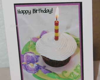 Photo card, birthday card, Photograph, cupcake, birthday