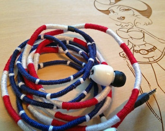 American Flag Inspired Theme (Red, White & Blue) Custom Laced Skull Candy Earbuds Headphones