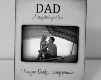A daugther's first love. I love you daddy. Dad gifts Grey Black Picture Frame 4x6 with Personalized name of children Keepsake Distressed