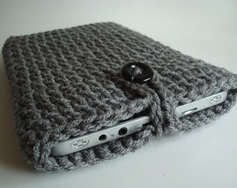 iPad mini - Nook - Kindle - case cover - handmade crochet - Grey