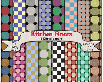 Kitchen Floors Digital Papers - Printable Tiles Backgrounds for Tiled Crafting Projects, Scrapbooking & More Instant Download
