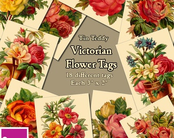 """Victorian Flower Tags Vintage Digital Collage Sheet  -  18 different 3"""" x 2"""" Printable Tags - Ideal for crafting - Instant Download"""