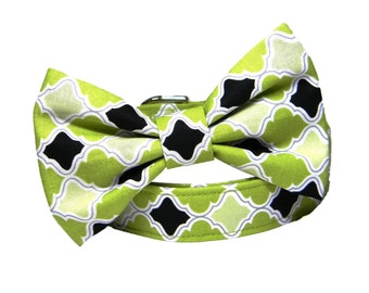 Green Bow Tie Dog Collar, Lattice Lime Dog Collar Bow tie: Chartreuse Lattice