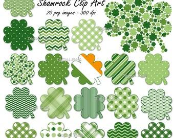 St. Patrick's Day Shamrock clip art set - 20 patterned printable digital clover clipart images - instant download
