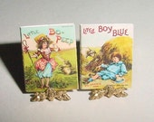 Miniature Books - Little Bo Peep, Little Boy Blue - Father Tuck, McLoughlin Bros - Dollhouse Nursery Childrens Book, One Inch 1/12 Scale