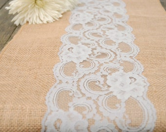 Grey Lace, Burlap Runners, Vintage Antique Lace, Bridal Shower, Shabby Chic, or  Rustic Wedding
