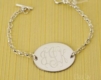 vine monogram oval engraved bracelet