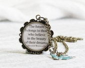 Quote necklace inspirational necklace personalized gift with little blue bird charm