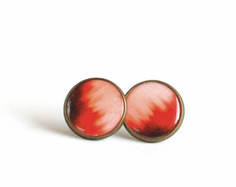 Ombre salmon stud earrings ombre jewelry hand painted ombre earring studs