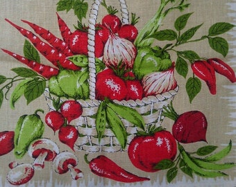 Beautiful Vintage Vegetables Kitchen Towel