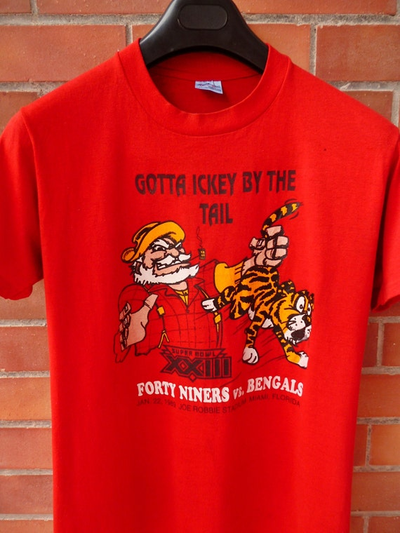 Vintage 1989 80s forty niners 49ers vs bengals by for Vintage bengals t shirts