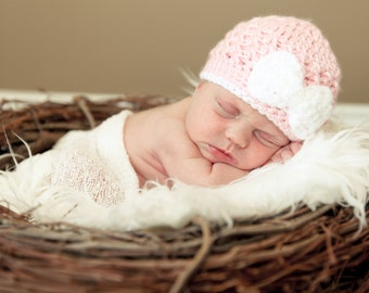 Pink Baby Girl Hat, Crochet Baby Hat, Pink with White Bow